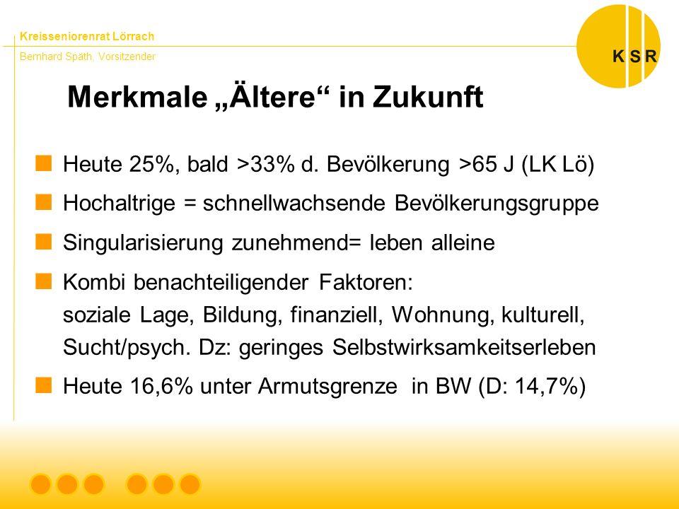 """Kreisseniorenrat Lörrach Bernhard Späth, Vorsitzender Merkmale """"Ältere in Zukunft  Heute 25%, bald >33% d."""