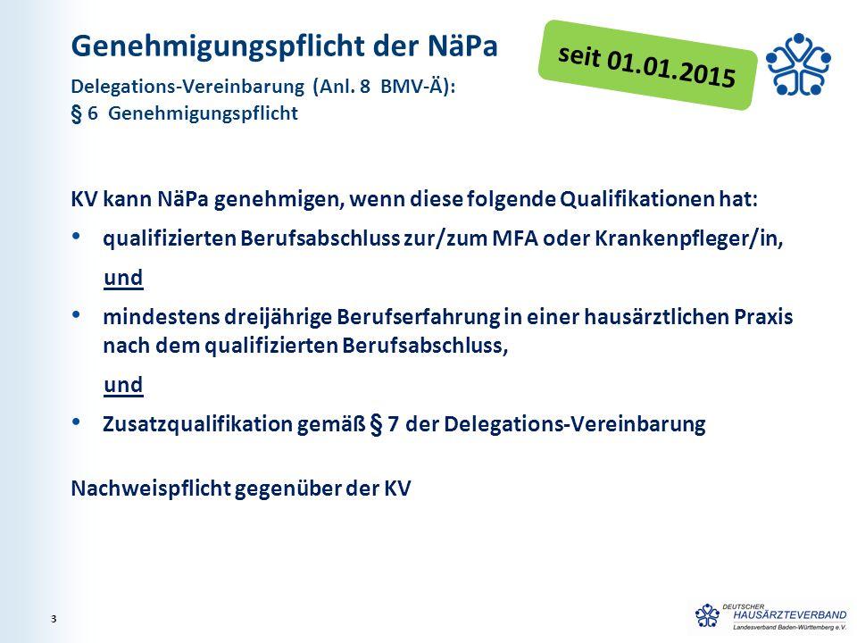 Genehmigungspflicht der NäPa KV kann NäPa genehmigen, wenn diese folgende Qualifikationen hat: qualifizierten Berufsabschluss zur/zum MFA oder Kranken