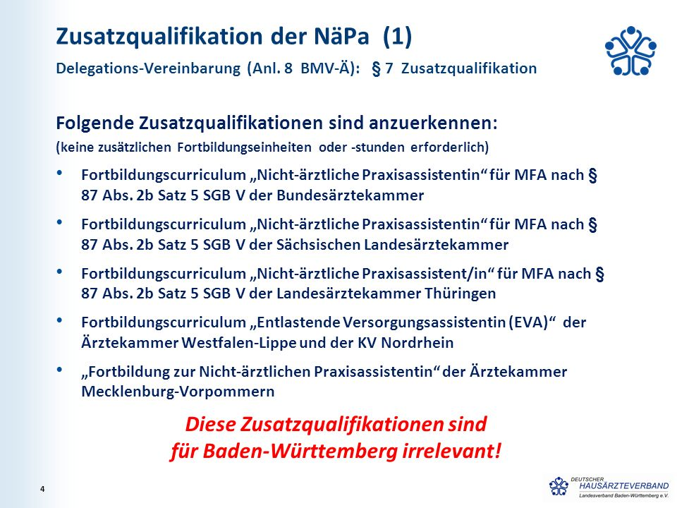 Zusatzqualifikation der NäPa (2) WICHTIG: Auf Betreiben des Hausärzteverbandes: Beschluss der Landesärztekammer BW vom 17.12.2014 Alle MFA, die ihre VERAH-Anerkennung bis zum 31.12.2014 erworben haben, werden in Baden-Württemberg im Rahmen einer Übergangsregelung der sog.