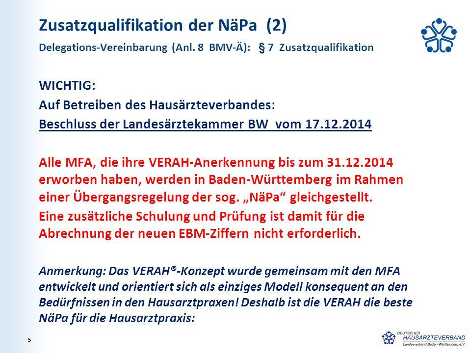Zusatzqualifikation der NäPa (2) WICHTIG: Auf Betreiben des Hausärzteverbandes: Beschluss der Landesärztekammer BW vom 17.12.2014 Alle MFA, die ihre V