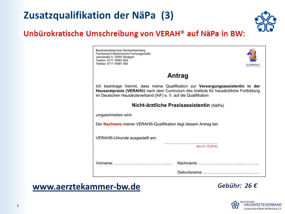 Zusatzqualifikation der NäPa (4) Weitere Ausbildungsstunden bzw.