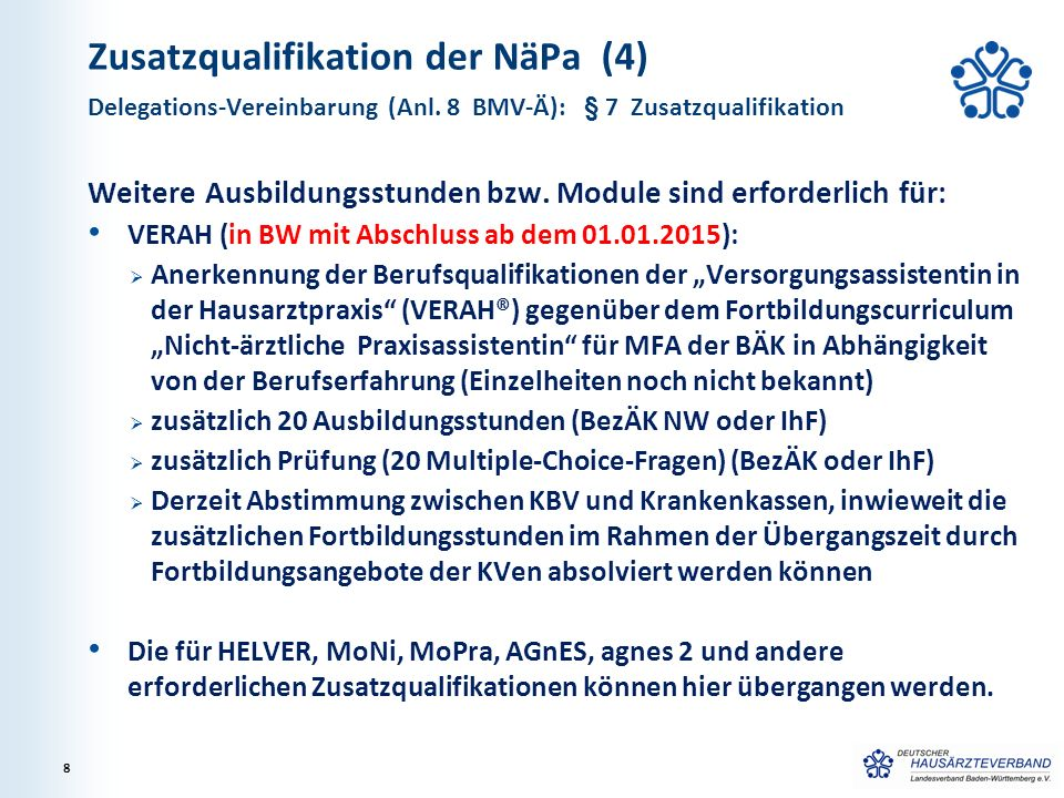 Zusatzqualifikation der NäPa (4) Weitere Ausbildungsstunden bzw. Module sind erforderlich für: VERAH (in BW mit Abschluss ab dem 01.01.2015):  Anerke