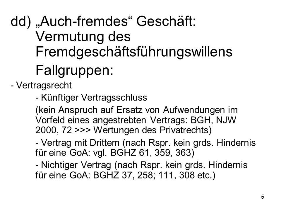 5 Fallgruppen: - Vertragsrecht - Künftiger Vertragsschluss (kein Anspruch auf Ersatz von Aufwendungen im Vorfeld eines angestrebten Vertrags: BGH, NJW 2000, 72 >>> Wertungen des Privatrechts) - Vertrag mit Drittem (nach Rspr.