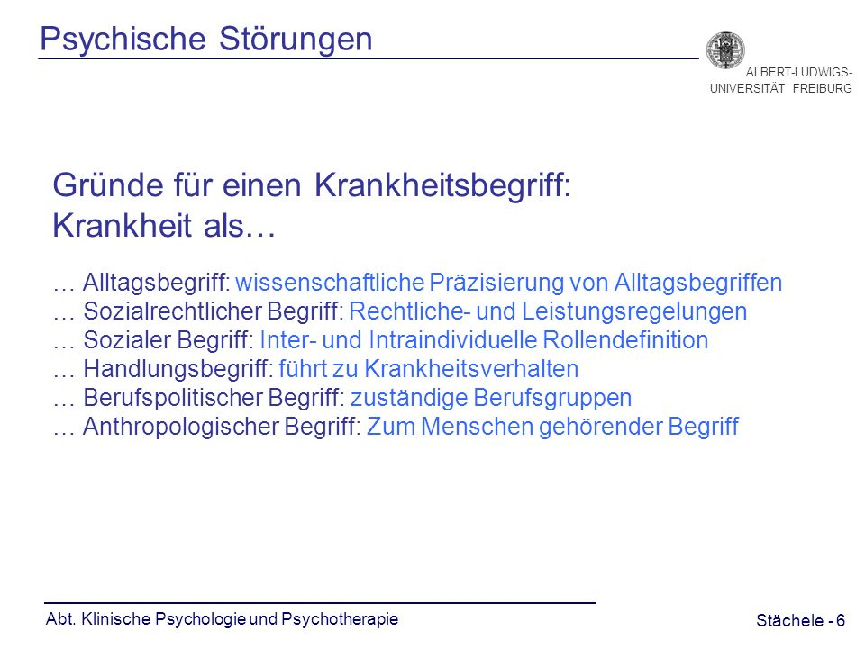 Stächele - 6 ALBERT-LUDWIGS- UNIVERSITÄT FREIBURG Abt.