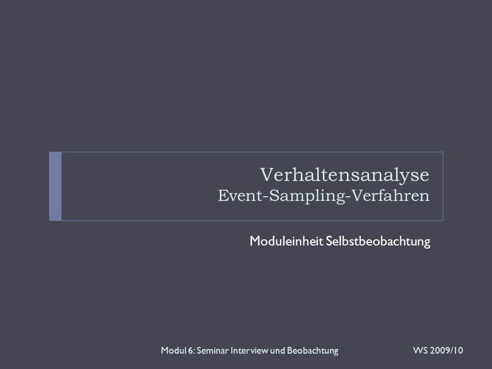 Überblick Modul 6: Seminar Interview und Beobachtung  Theorie  Event-Sampling-Verfahren  Situative Verhaltensanalyse  SORKC-Verhaltensgleichung  Praxis  Verhaltensbeobachtung mittels des SORKC-Modells  Videosequenz  Szenario  Diskussion WS 2009/102
