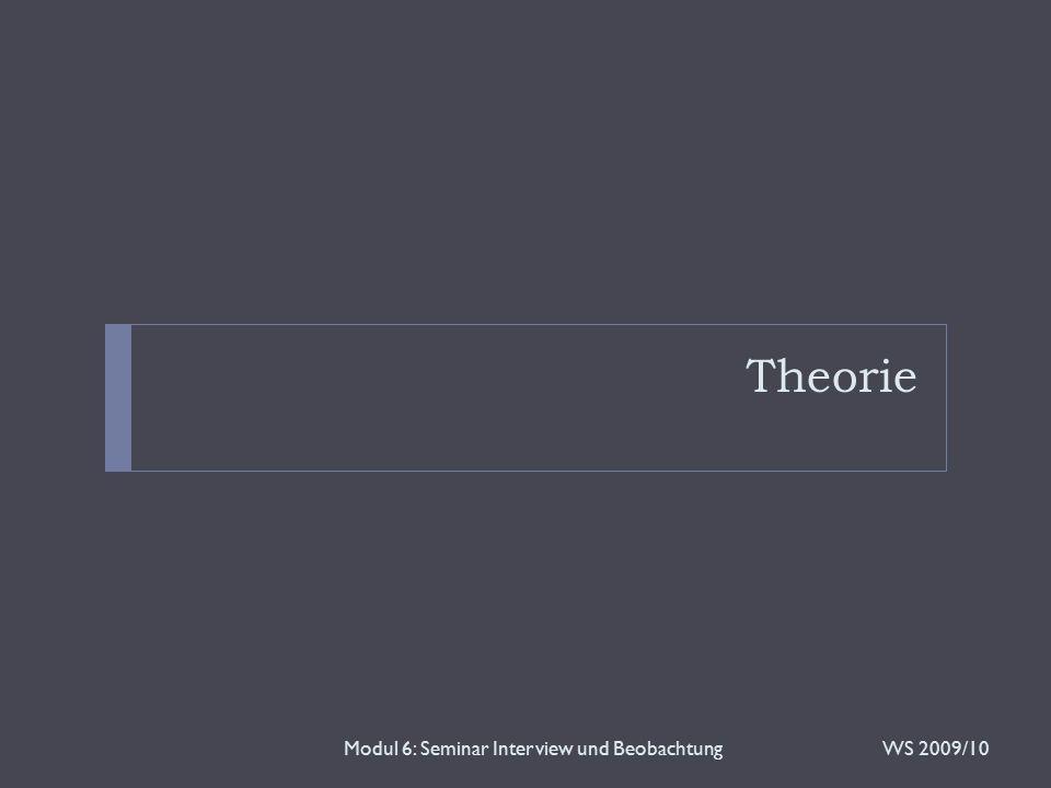 Theorie WS 2009/10Modul 6: Seminar Interview und Beobachtung