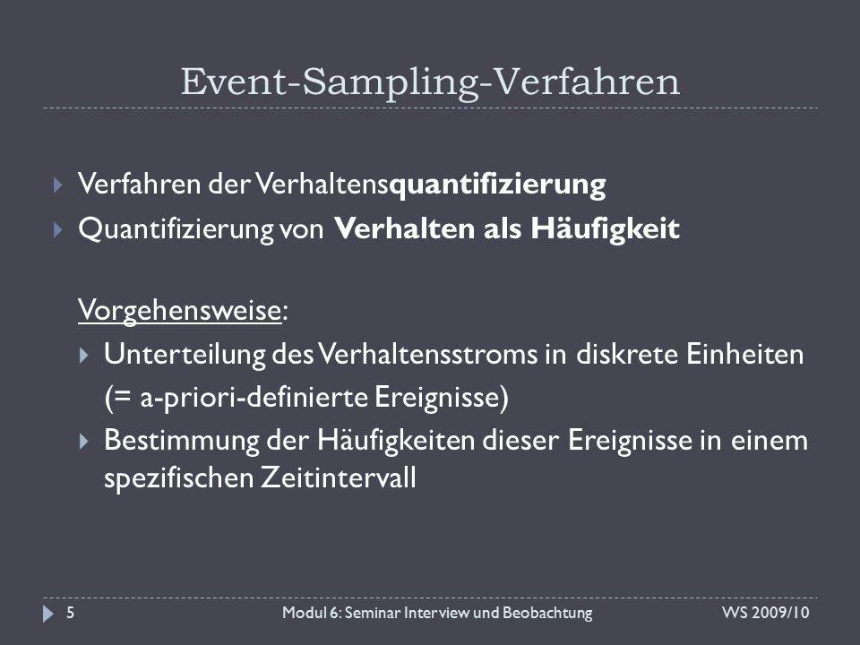 Event-Sampling-Verfahren Modul 6: Seminar Interview und Beobachtung  Verfahren der Verhaltensquantifizierung  Quantifizierung von Verhalten als Häuf