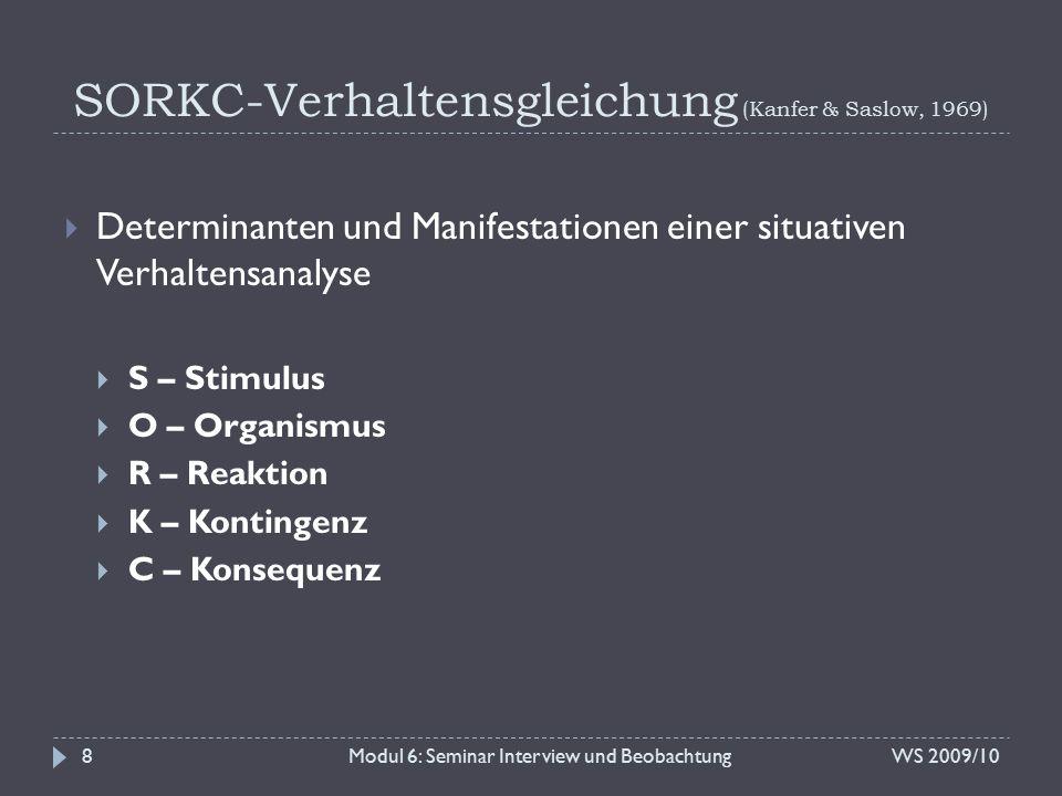 SORKC-Verhaltensgleichung (Kanfer & Saslow, 1969) WS 2009/10Modul 6: Seminar Interview und Beobachtung9 internal external S biologisch psychologisch O physiologisch emotional kognitiv behavioral R kontinuierlich intermittierend K kurzfristig langfristig C