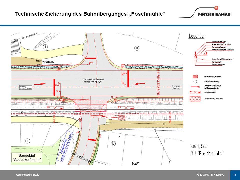 """11 www.pintschbamag.de© 2012 PINTSCH BAMAG Technische Sicherung des Bahnüberganges """"Poschmühle"""""""