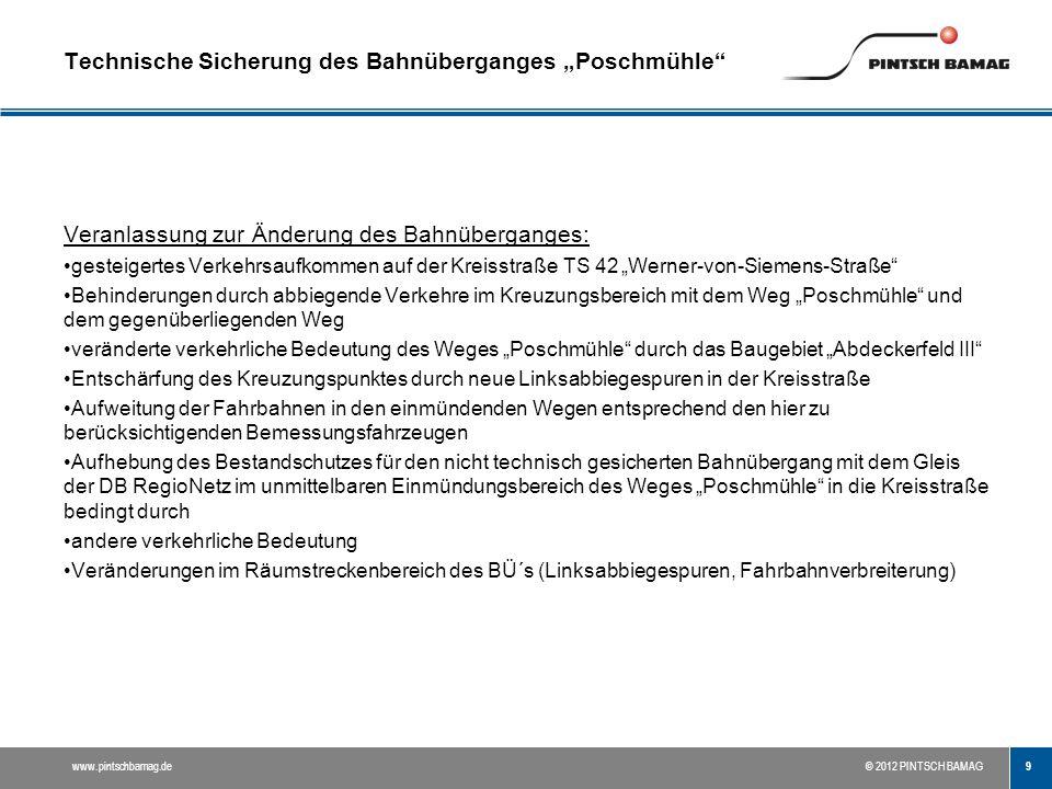 10 www.pintschbamag.de© 2012 PINTSCH BAMAG Grundlagen für die Konstruktion von Bahnübergängen Betrachtung der Verkehrsanlagen im Räumstreckenbereich des BÜ (Räumstrecke = ca.