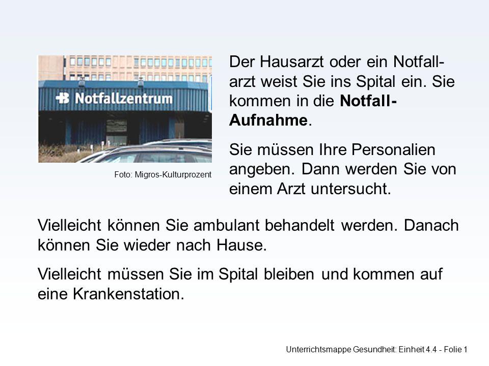 Unterrichtsmappe Gesundheit: Einheit 4.4 - Folie 1 Der Hausarzt oder ein Notfall- arzt weist Sie ins Spital ein.