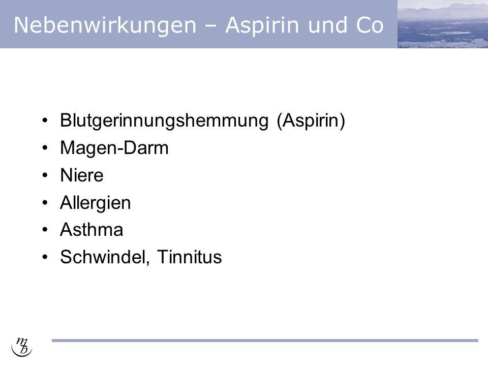 Nebenwirkungen – Aspirin und Co Blutgerinnungshemmung (Aspirin) Magen-Darm Niere Allergien Asthma Schwindel, Tinnitus