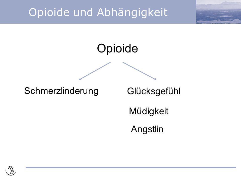Opioide und Abhängigkeit Opioide Schmerzlinderung Glücksgefühl Angstlinderung Müdigkeit