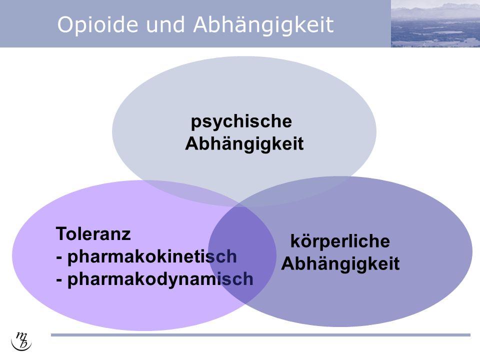 Opioide und Abhängigkeit Toleranz - pharmakokinetisch - pharmakodynamisch körperliche Abhängigkeit psychische Abhängigkeit