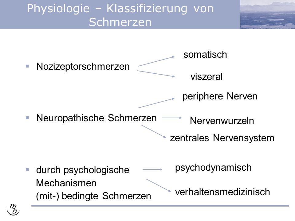 Physiologie – Klassifizierung von Schmerzen  Nozizeptorschmerzen  Neuropathische Schmerzen  durch psychologische Mechanismen (mit-) bedingte Schmerzen somatisch viszeral periphere Nerven Nervenwurzeln zentrales Nervensystem psychodynamisch verhaltensmedizinisch