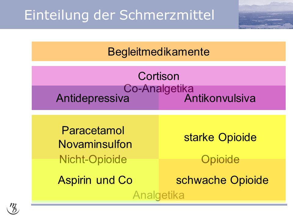 Analgetika Einteilung der Schmerzmittel Nicht-OpioideOpioide Co-Analgetika Aspirin und Co Paracetamol Novaminsulfon starke Opioide schwache Opioide AntidepressivaAntikonvulsiva Cortison Begleitmedikamente