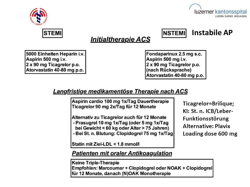 © Dr. med. D. Rhein Straub Instabile AP Ticagrelor=Brilique; KI: St. n. ICB/Leber- Funktionsstörung Alternative: Plavix Loading dose 600 mg