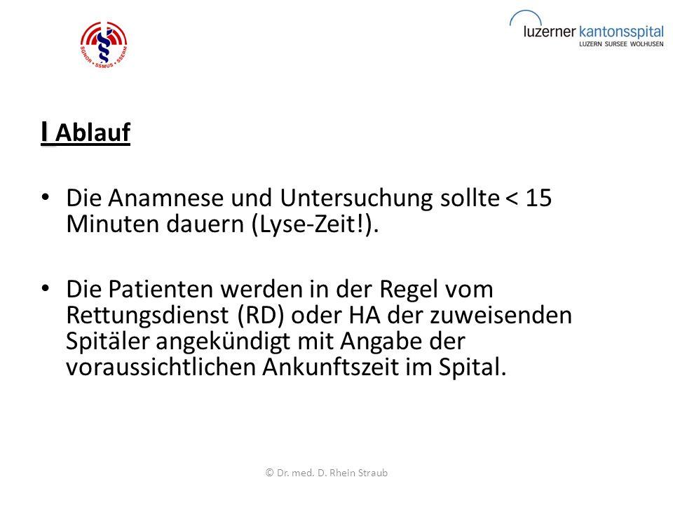 I I Ablauf Die Anamnese und Untersuchung sollte < 15 Minuten dauern (Lyse-Zeit!).