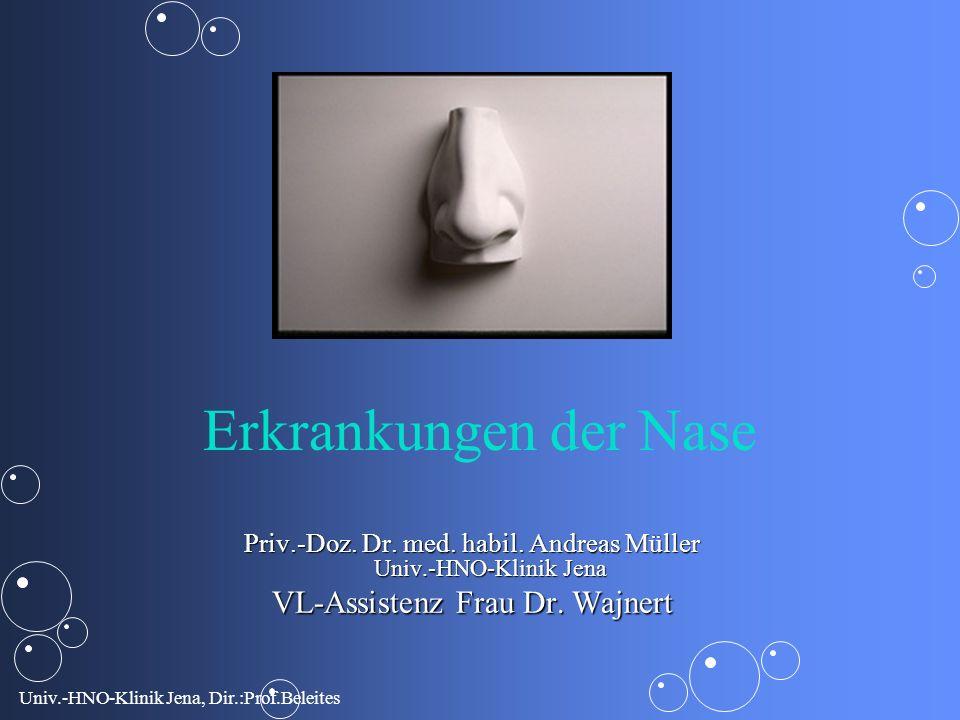 Univ.-HNO-Klinik Jena, Dir.:Prof.Beleites Fehlbildungen der Nase Naseneingangsatresie Choanalatresie (doppelseitig - lebensbedrohlicher Zustand !!!)