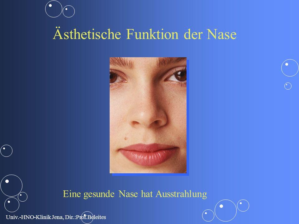 Univ.-HNO-Klinik Jena, Dir.:Prof.Beleites Ästhetische Funktion der Nase Eine gesunde Nase hat Ausstrahlung