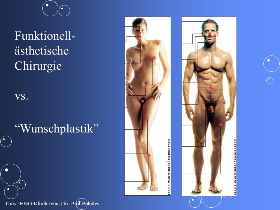 Univ.-HNO-Klinik Jena, Dir.:Prof.Beleites Funktionell- ästhetische Chirurgie vs. Wunschplastik