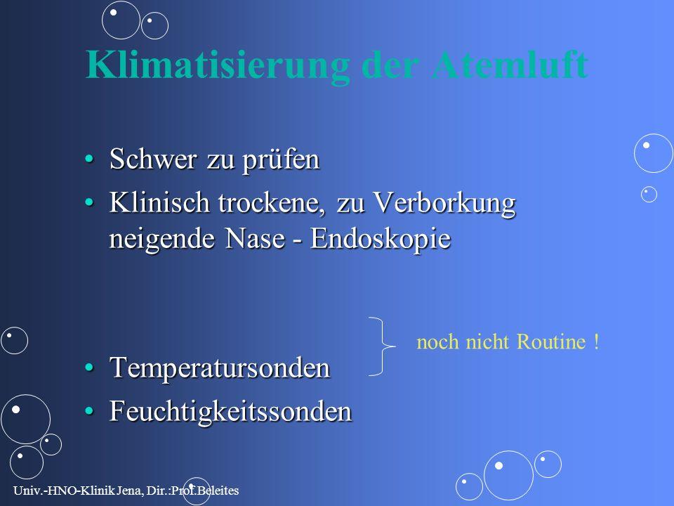 Univ.-HNO-Klinik Jena, Dir.:Prof.Beleites Klimatisierung der Atemluft Schwer zu prüfenSchwer zu prüfen Klinisch trockene, zu Verborkung neigende Nase - EndoskopieKlinisch trockene, zu Verborkung neigende Nase - Endoskopie TemperatursondenTemperatursonden FeuchtigkeitssondenFeuchtigkeitssonden noch nicht Routine !