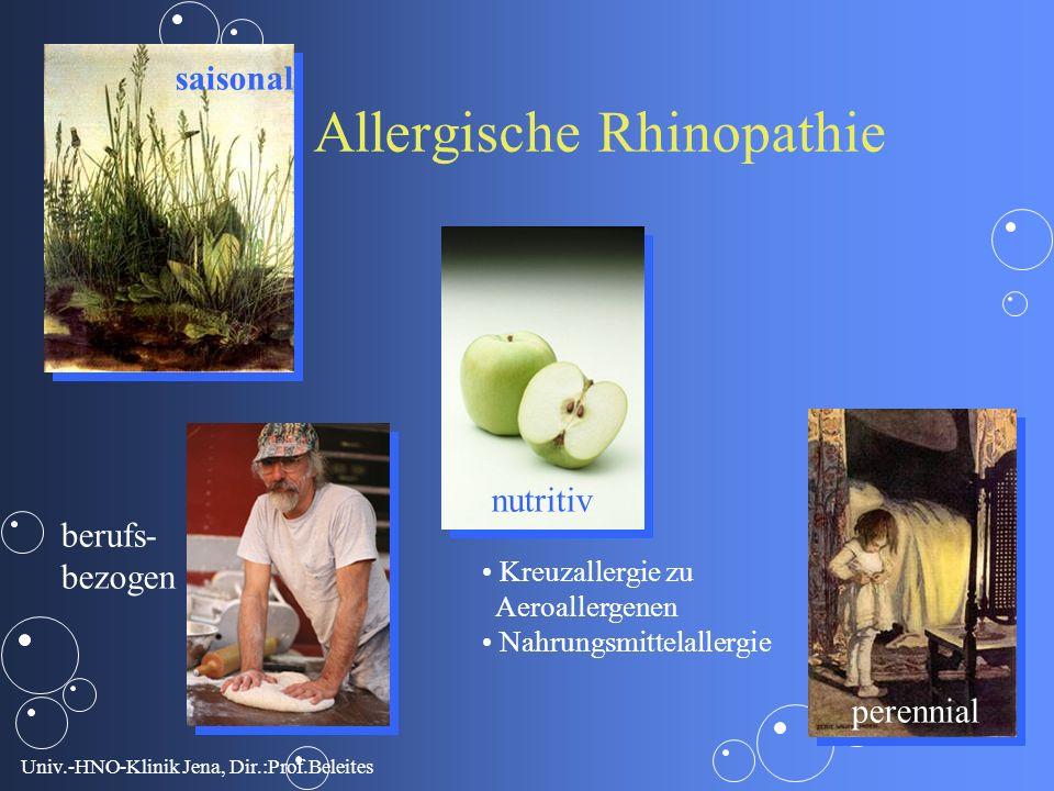 Univ.-HNO-Klinik Jena, Dir.:Prof.Beleites saisonal perennial nutritiv berufs- bezogen Allergische Rhinopathie Kreuzallergie zu Aeroallergenen Nahrungsmittelallergie