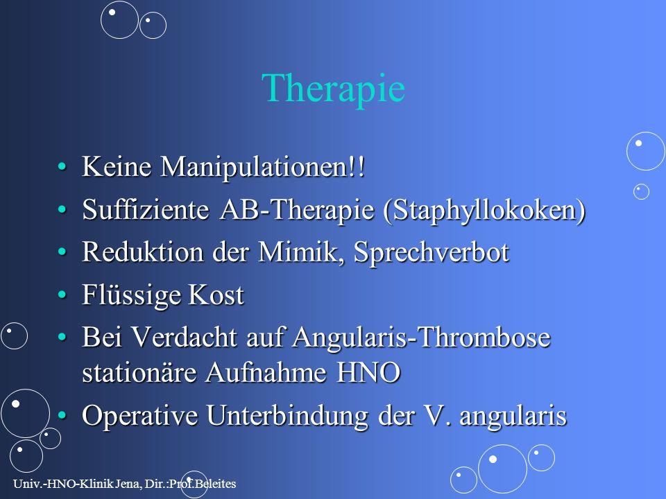 Univ.-HNO-Klinik Jena, Dir.:Prof.Beleites Therapie Keine Manipulationen!!Keine Manipulationen!.
