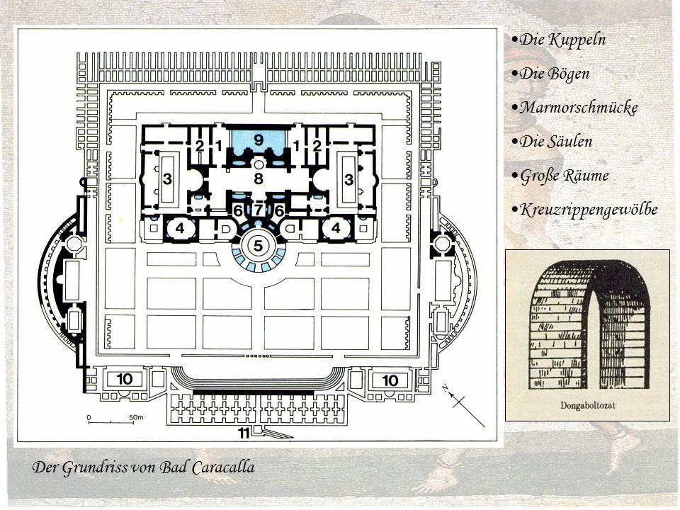Die Kuppeln Die Bögen Marmorschmücke Die Säulen Große Räume Kreuzrippengewölbe Der Grundriss von Bad Caracalla