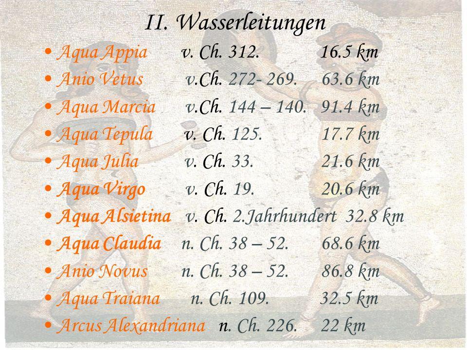 II. Wasserleitungen Aqua Appiav. Ch. 312. 16.5 km Anio Vetus v.Ch.