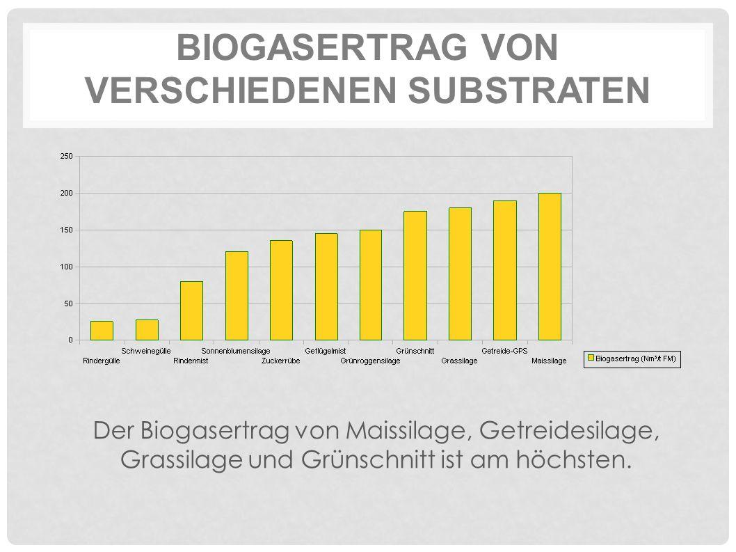 BIOGASERTRAG VON VERSCHIEDENEN SUBSTRATEN Der Biogasertrag von Maissilage, Getreidesilage, Grassilage und Grünschnitt ist am höchsten.