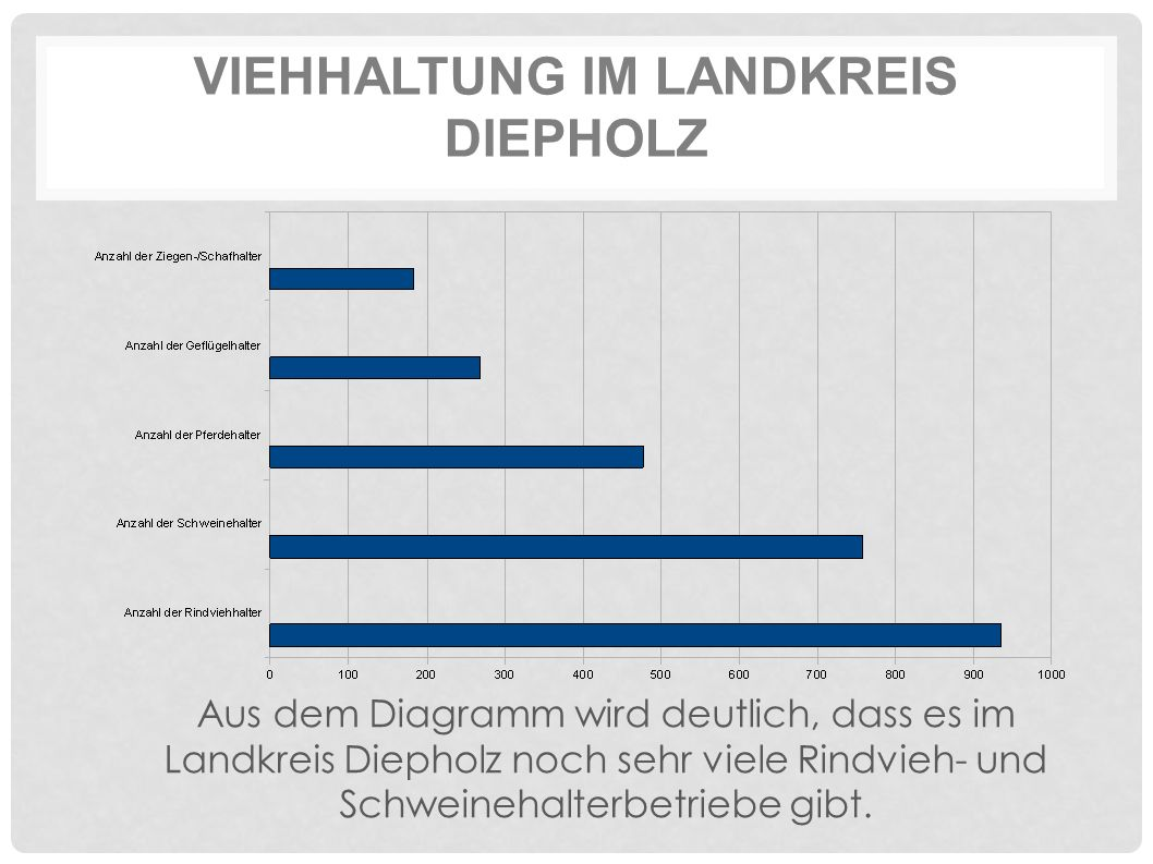 VIEHHALTUNG IM LANDKREIS DIEPHOLZ Aus dem Diagramm wird deutlich, dass es im Landkreis Diepholz noch sehr viele Rindvieh- und Schweinehalterbetriebe gibt.