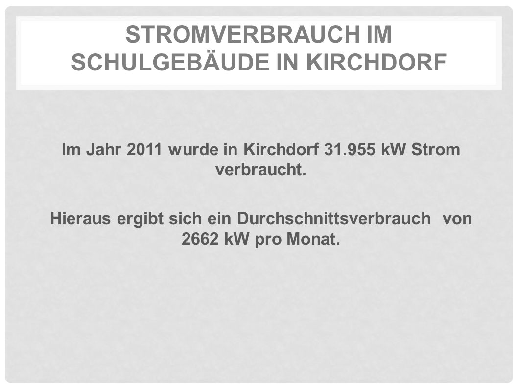 STROMVERBRAUCH IM SCHULGEBÄUDE IN KIRCHDORF Im Jahr 2011 wurde in Kirchdorf 31.955 kW Strom verbraucht. Hieraus ergibt sich ein Durchschnittsverbrauch