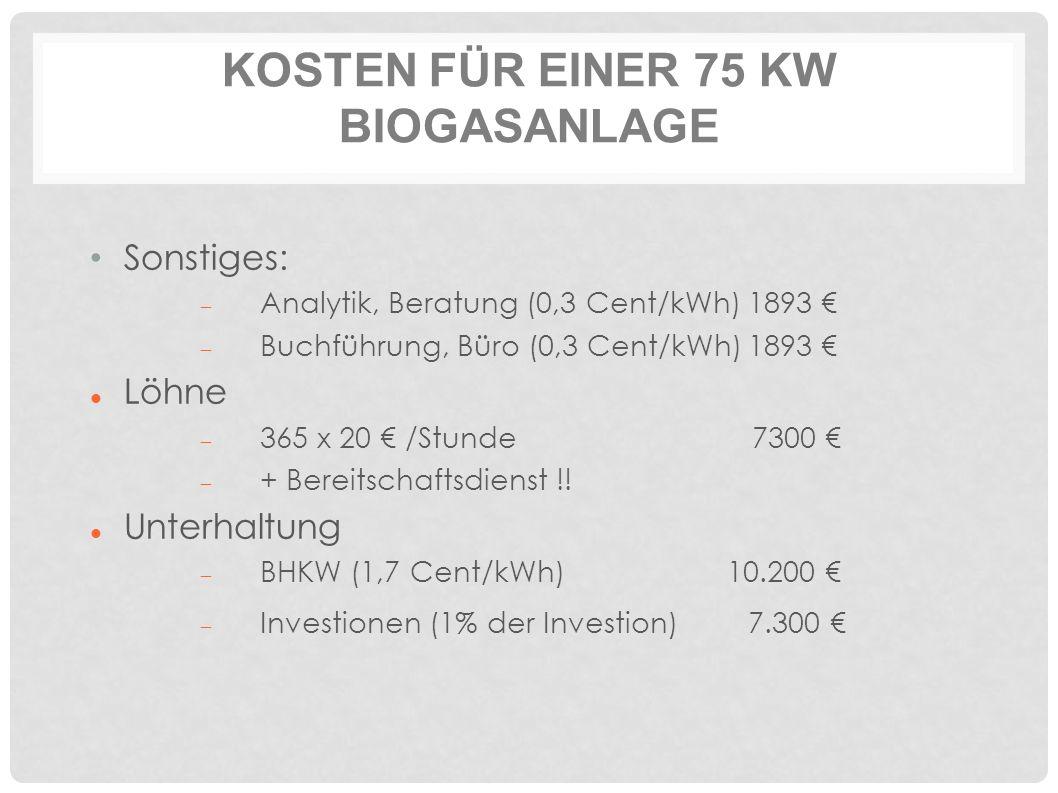 KOSTEN FÜR EINER 75 KW BIOGASANLAGE Sonstiges:  Analytik, Beratung (0,3 Cent/kWh)1893 €  Buchführung, Büro (0,3 Cent/kWh)1893 € Löhne  365 x 20 € /Stunde 7300 €  + Bereitschaftsdienst !.