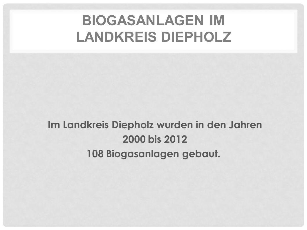 BIOGASANLAGEN IM LANDKREIS DIEPHOLZ Im Landkreis Diepholz wurden in den Jahren 2000 bis 2012 108 Biogasanlagen gebaut.