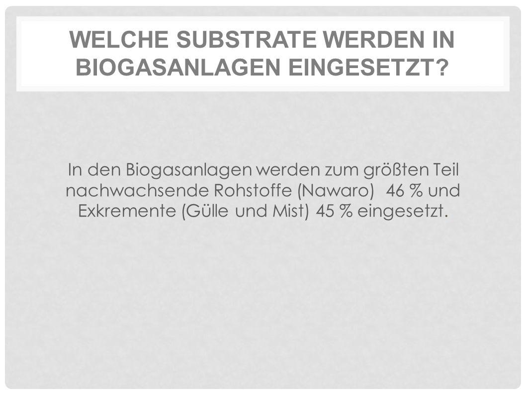 WELCHE SUBSTRATE WERDEN IN BIOGASANLAGEN EINGESETZT? In den Biogasanlagen werden zum größten Teil nachwachsende Rohstoffe (Nawaro) 46 % und Exkremente