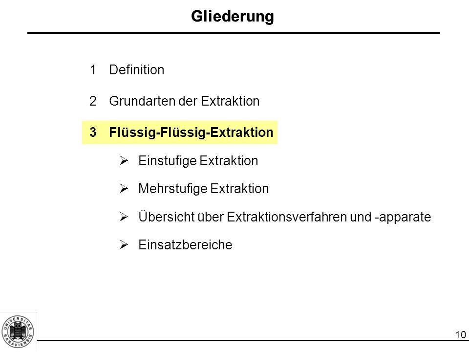 10 Gliederung 1Definition 2Grundarten der Extraktion 3Flüssig-Flüssig-Extraktion  Einstufige Extraktion  Mehrstufige Extraktion  Übersicht über Extraktionsverfahren und -apparate  Einsatzbereiche