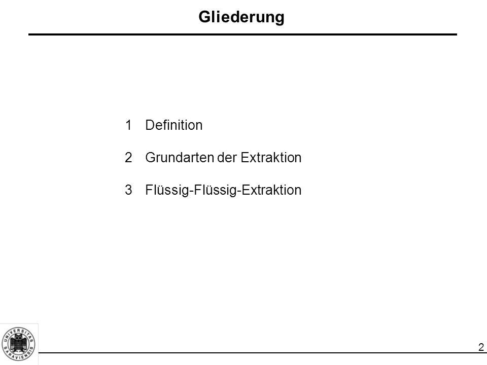 2 Gliederung 1Definition 2Grundarten der Extraktion 3Flüssig-Flüssig-Extraktion