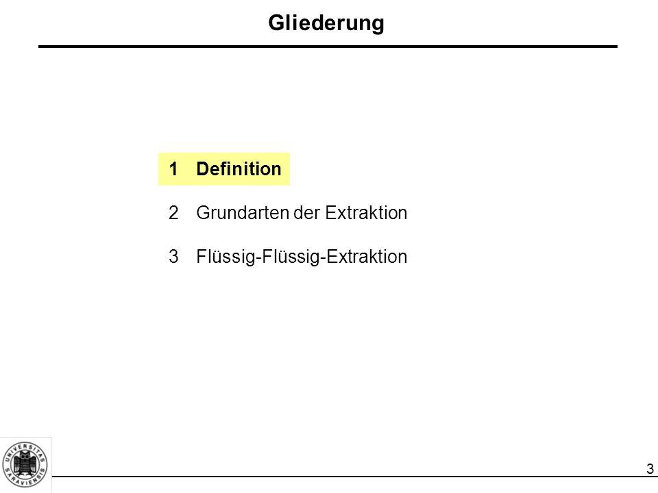 3 Gliederung 1Definition 2Grundarten der Extraktion 3Flüssig-Flüssig-Extraktion