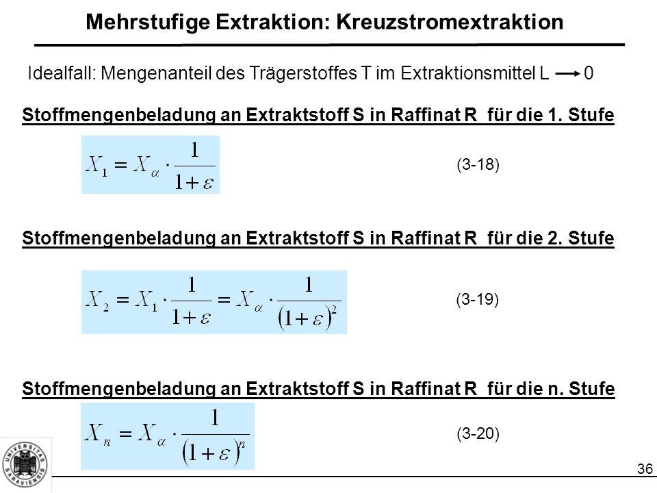 36 Mehrstufige Extraktion: Kreuzstromextraktion Stoffmengenbeladung an Extraktstoff S in Raffinat R für die 1. Stufe Stoffmengenbeladung an Extraktsto