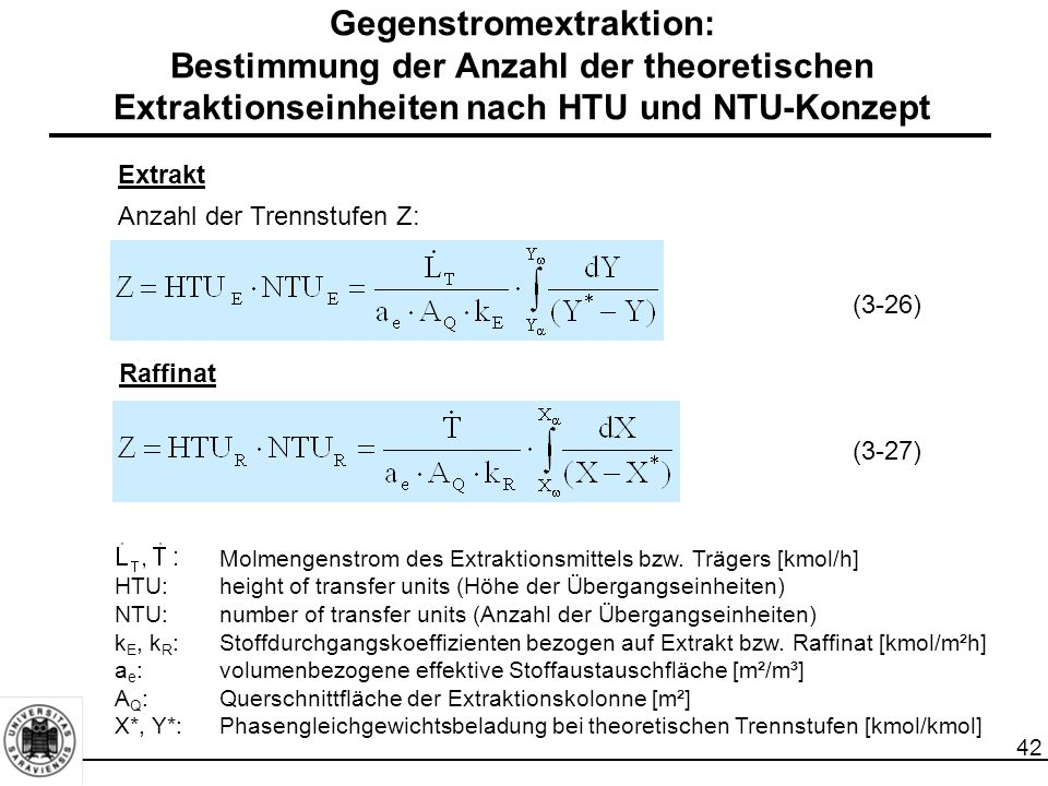 42 Gegenstromextraktion: Bestimmung der Anzahl der theoretischen Extraktionseinheiten nach HTU und NTU-Konzept Extrakt Anzahl der Trennstufen Z: Raffinat Molmengenstrom des Extraktionsmittels bzw.