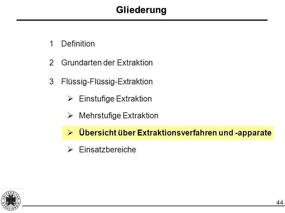 44 Gliederung 1Definition 2Grundarten der Extraktion 3Flüssig-Flüssig-Extraktion  Einstufige Extraktion  Mehrstufige Extraktion  Übersicht über Extraktionsverfahren und -apparate  Einsatzbereiche