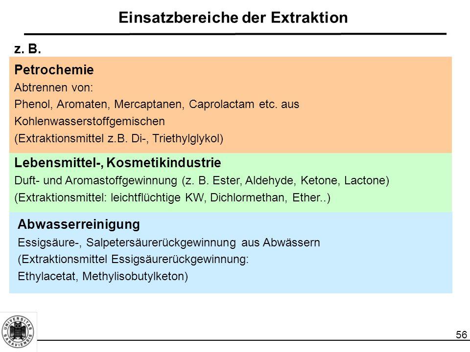 56 Einsatzbereiche der Extraktion Petrochemie Abtrennen von: Phenol, Aromaten, Mercaptanen, Caprolactam etc. aus Kohlenwasserstoffgemischen (Extraktio