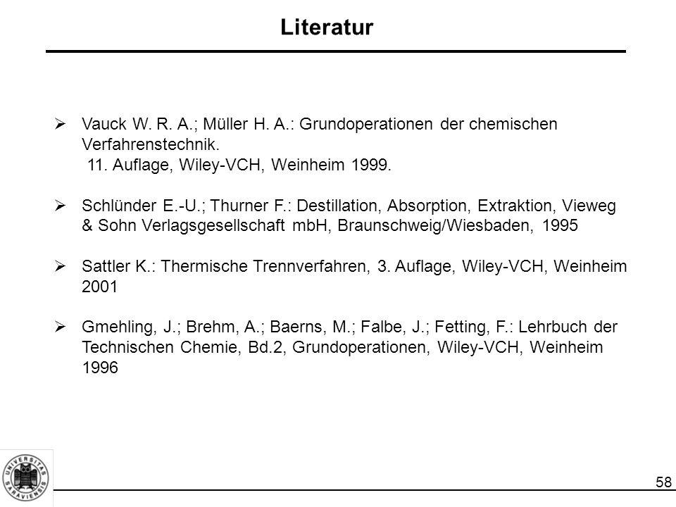 58  Vauck W. R. A.; Müller H. A.: Grundoperationen der chemischen Verfahrenstechnik. 11. Auflage, Wiley-VCH, Weinheim 1999.  Schlünder E.-U.; Thurne