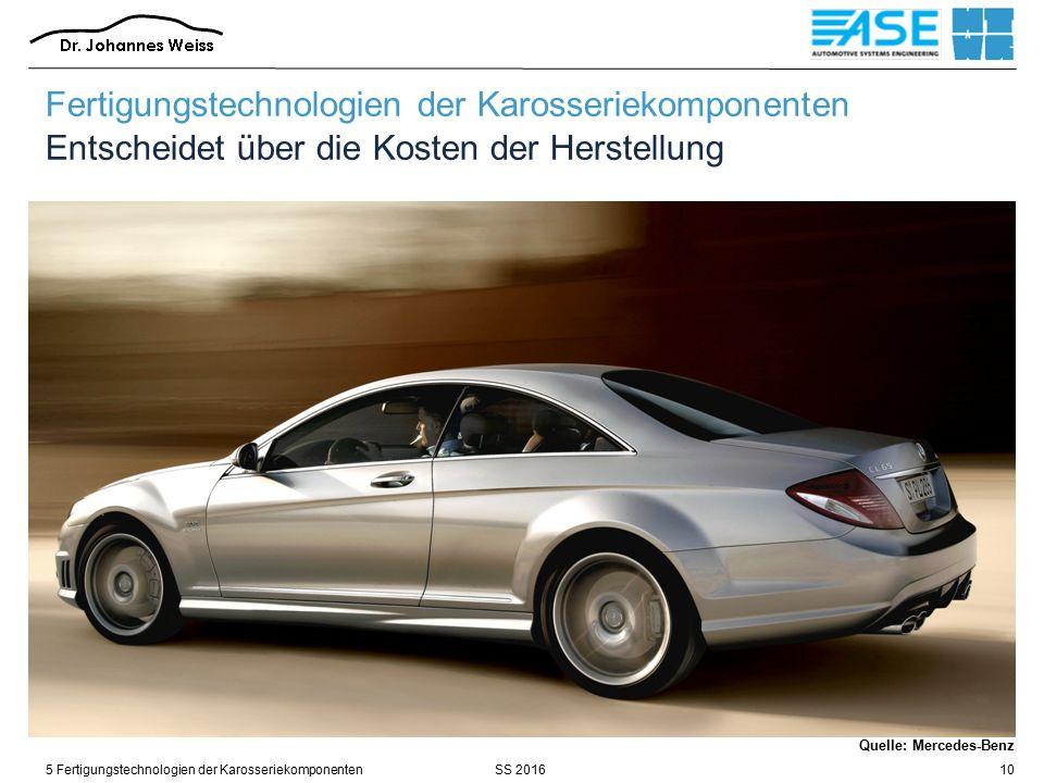 SS 20165 Fertigungstechnologien der Karosseriekomponenten10 Fertigungstechnologien der Karosseriekomponenten Entscheidet über die Kosten der Herstellung Quelle: Mercedes-Benz