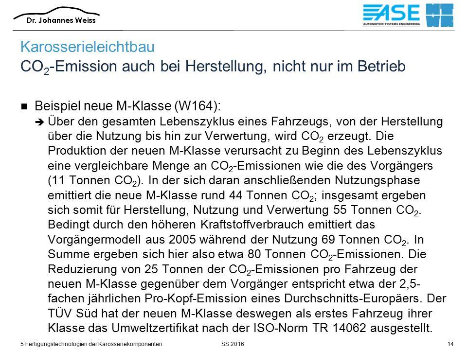SS 20165 Fertigungstechnologien der Karosseriekomponenten14 Karosserieleichtbau CO 2 -Emission auch bei Herstellung, nicht nur im Betrieb Beispiel neue M-Klasse (W164):  Über den gesamten Lebenszyklus eines Fahrzeugs, von der Herstellung über die Nutzung bis hin zur Verwertung, wird CO 2 erzeugt.