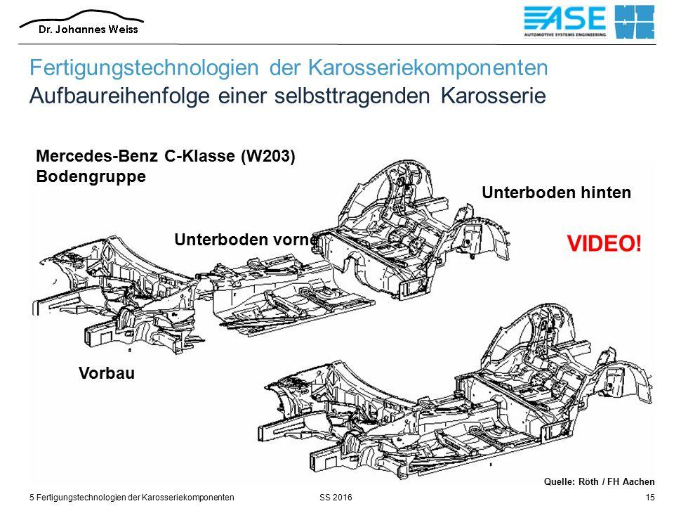SS 20165 Fertigungstechnologien der Karosseriekomponenten15 Mercedes-Benz C-Klasse (W203) Bodengruppe Vorbau Unterboden vorne Unterboden hinten Fertigungstechnologien der Karosseriekomponenten Aufbaureihenfolge einer selbsttragenden Karosserie Quelle: Röth / FH Aachen VIDEO!