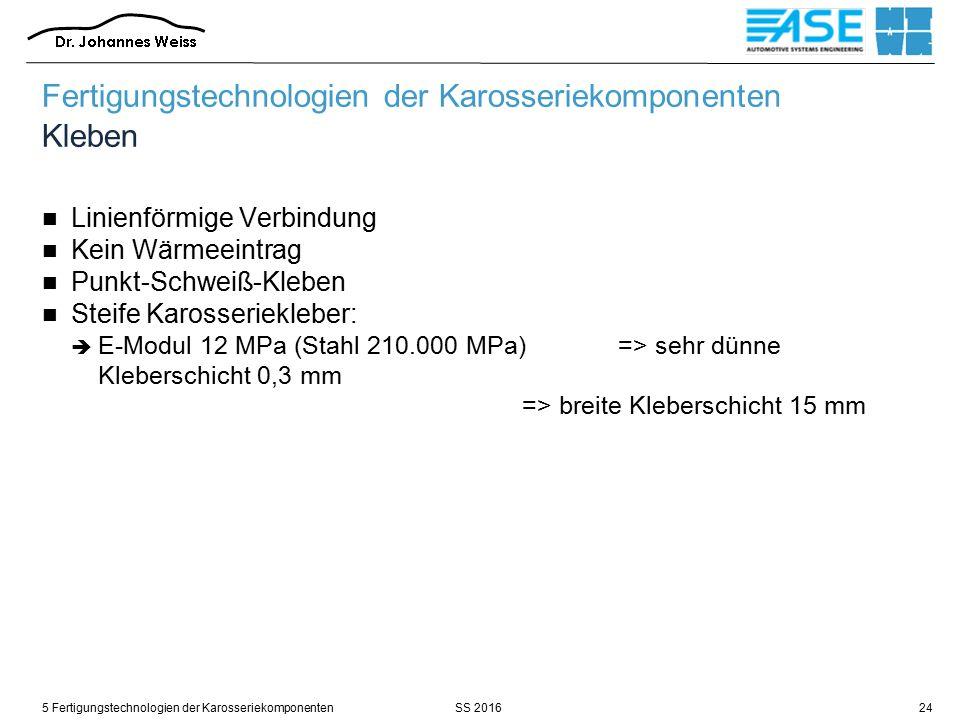 SS 20165 Fertigungstechnologien der Karosseriekomponenten24 Fertigungstechnologien der Karosseriekomponenten Kleben Linienförmige Verbindung Kein Wärmeeintrag Punkt-Schweiß-Kleben Steife Karosseriekleber:  E-Modul 12 MPa (Stahl 210.000 MPa) => sehr dünne Kleberschicht 0,3 mm => breite Kleberschicht 15 mm