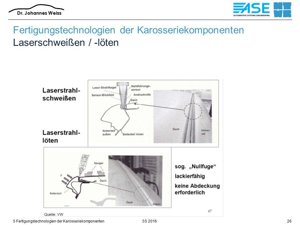 SS 20165 Fertigungstechnologien der Karosseriekomponenten26 Fertigungstechnologien der Karosseriekomponenten Laserschweißen / -löten