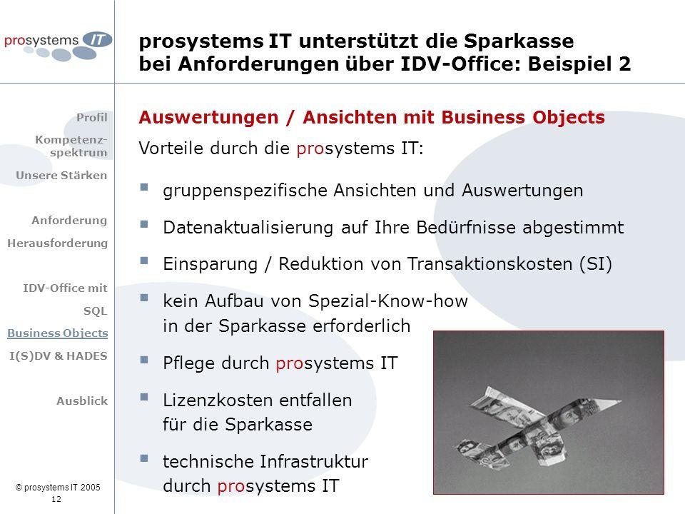 © prosystems IT 2005 12 Auswertungen / Ansichten mit Business Objects Vorteile durch die prosystems IT:  gruppenspezifische Ansichten und Auswertunge